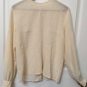 Vintage 90s Silk Pleated Sheer Blouse